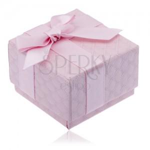 Ružová krabička na šperk so štvorčekovým vzorom, mašľa