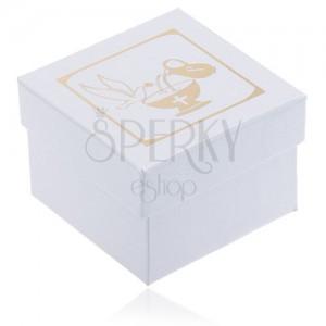 Trblietavá biela darčeková krabička - džbán, kalich a holubica zlatej farby