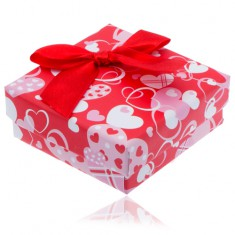 Šperky eshop - Červená srdiečková krabička na náušnice s červenou mašľou Y7.20