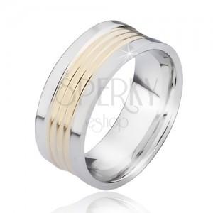 Dvojfarebný oceľový prsteň so zaoblenými pásmi zlatej farby