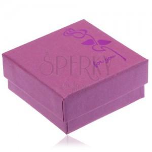 Fialovo-ružová krabička na náušnice, lesklá cyklaménová ruža
