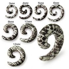 Slimák do ucha - bielohnedý expander s hadím motívom