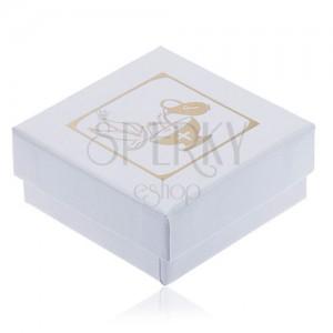 Perleťovobiela krabička na náušnice, džbán, kalich a holubica zlatej farby