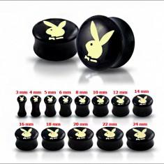Šperky eshop - Čierny sedlový plug do ucha s maslovo-žltým zajacom R21.7 - Hrúbka: 10 mm