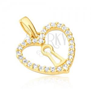 Prívesok v žltom 14K zlate - pravidelný obrys srdca, zámka, zirkóny