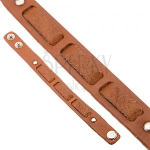 Kožený škoricovohnedý náramok na ruku - prerušovaný pás