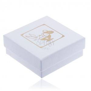 Vrúbkovaná biela darčeková krabička na šperk, zlatá holubica, džbán a kalich