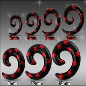 Čierny expander do ucha - špirála s červenými hviezdami