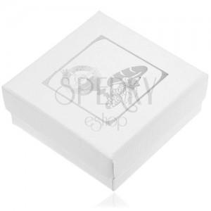 Biela darčeková krabička so strieborným motívom 1. svätého prijímania