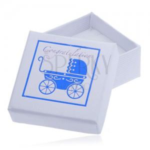 Biela darčeková krabička na šperk - modrý detský kočík