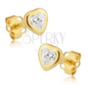 Zlaté náušnice 585 - obrys lesklého pravidelného srdca, brúsený číry kamienok