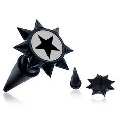 Čierny fake taper do ucha s ostňami a čiernou hviezdou
