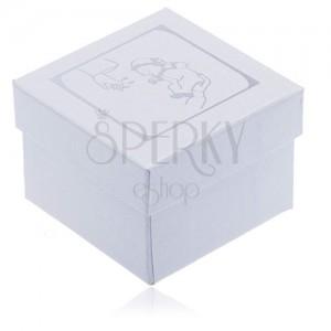 Perleťová krabička na náušnice - strieborný motív krstu