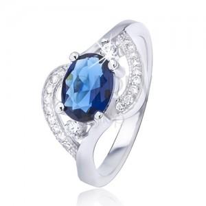 Strieborný prsteň 925 s oválnym modrým zirkónom, zvlnené ramená