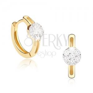Zlaté náušnice 585 - krúžky, podlhovastý výrez, zirkónový kruh