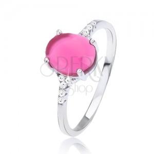 Prsteň zo striebra 925 - hladký oválny ružový kamienok