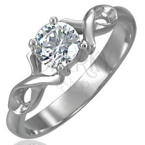 Zásnubný prsteň so zirkónom s dvojitou oceľovou stužkou