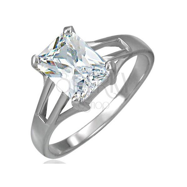 Snubný prsteň veľký obdĺžnikový zirkón s troma otvormi po oboch stranách