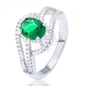 Prsteň zo striebra 925, zdvojená zirkónová vlnka, oválny zelený kamienok