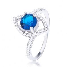 Šperky eshop - Strieborný prsteň 925, zvlnená elipsa, vystúpený tmavomodrý zirkón BB6.19 - Veľkosť: 51 mm