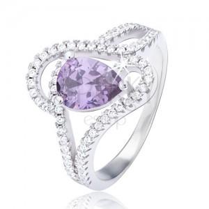 Prsteň zo striebra 925, fialový slzičkový zirkón, zvlnený ornament