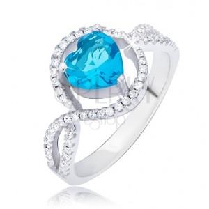 Strieborný prsteň 925, azúrovomodrý srdcový kamienok v zirkónovom kruhu