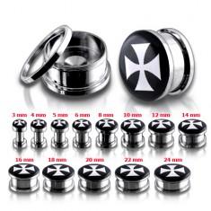 Šperky eshop - Tunel plug do ucha z chirurgickej ocele s bielym maltézskym krížom P6.1 - Hrúbka: 10 mm
