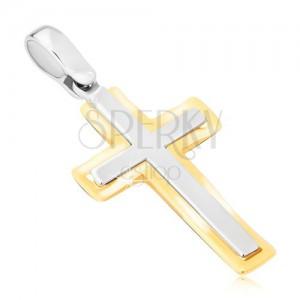 Prívesok zo zlata 14K - dvojfarebný latinský kríž, matno-lesklý