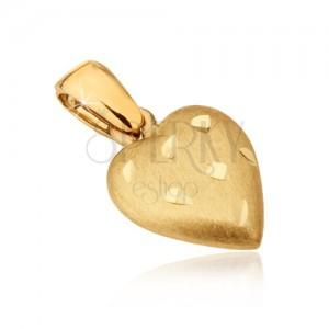 Zlatý prívesok 585 - priestorové srdce so saténovým povrchom, ryhy