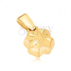 Zlatý prívesok 585 - priestorový štvorlístok, saténový povrch, lesklé ryhy