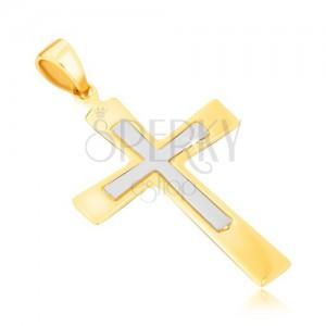 Prívesok zo zlata 14K - dvojfarebný kríž s mierne sa rozširujúcimi ramenami