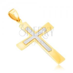 Zlatý prívesok 585 - lesklý dvojfarebný kríž s rozširujúcimi sa ramenami