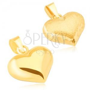 Zlatý prívesok 585 - trojrozmerné pravidelné srdce, saténovo-lesklé