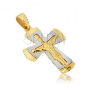Dvojfarebný prívesok zo zlata 14K - kríž s ukrižovaným Kristom