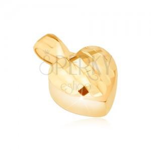 Zlatý prívesok 585 - trojrozmerné symetrické srdce, drobné lesklé plôšky