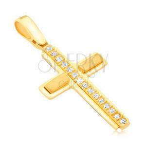 Prívesok zo žltého 14k zlata - latinský kríž, zirkónový pás, matné obdĺžniky