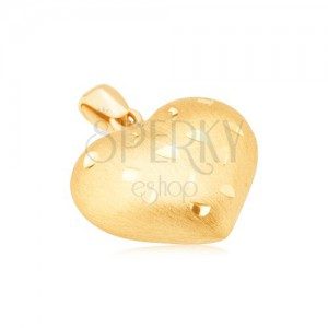 Zlatý prívesok 585 - pravidelné 3D srdce, drobné lesklé ryhy, saténový povrch