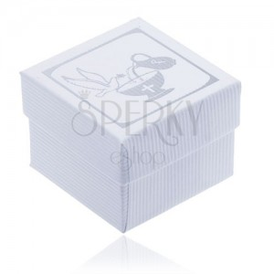 Biela vrúbkovaná krabička na náušnice - strieborná holubica, kalich a džbán
