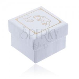 Biela darčeková krabička s vrúbkovaným povrchom, motív krstu