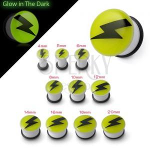 Plug do ucha svietiaci v tme - čierny blesk na žltom podklade