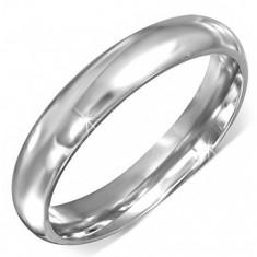 Prsteň z chirurgickej ocele striebornej farby s hladkým povrchom