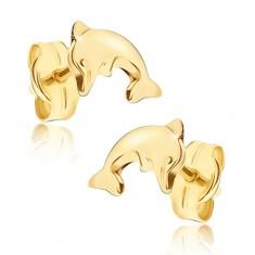 Šperky eshop - Lesklé náušnice v žltom 14K zlate - prehnuté telo delfína vo výskoku GG15.02