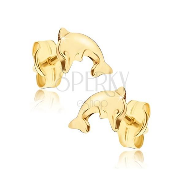 Lesklé náušnice v žltom 14K zlate - prehnuté telo delfína vo výskoku