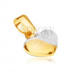 Prívesok v žltom 14K zlate - pravidelné vypuklé srdiečko, dvojfarebné