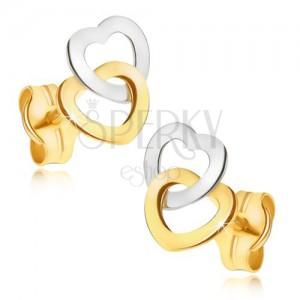 Zlaté náušnice 585 - dvojfarebné ligotavé kontúry súmerných sŕdc