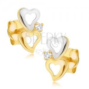Zlaté dvojfarebné náušnice 585 - obrysy nepravidelných sŕdc, malý zirkónik