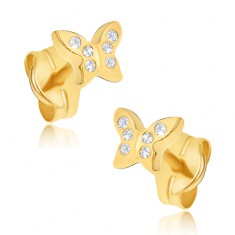 Šperky eshop - Náušnice zo žltého 14K zlata - maličké zirkónové motýle GG19.03