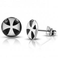 Šperky eshop - Okrúhle náušnice z chirurgickej ocele s bielym maltézskym krížom A9.7