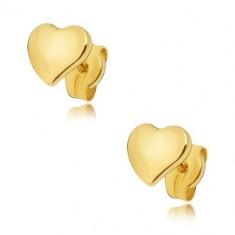 Šperky eshop - Náušnice zo žltého 14K zlata - ploché zrkadlovolesklé nesúmerné srdce GG22.04