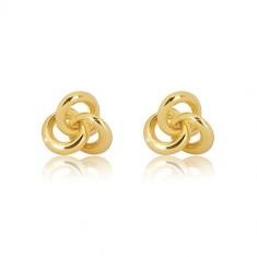 e142c3912 Šperky eshop - Náušnice v žltom 14K zlate - tri malé lesklé prepojené  prstence GG20.